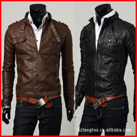 H018 one piece free shipping high quality fashion PU winter&autumn suitable man jacket solid Mandarin collar collar black brown