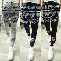 Free Shipping New Fashion Men's Korean Tide Printed Jogging Dance Harem Feet Pants Casual Slim Trousers Slacks
