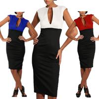 2014 New Summer Cotton Blend Women Deep V-Neck Zipper Back Stretchy Classic Black and White Bodycon Knee-Length Pencil Dress