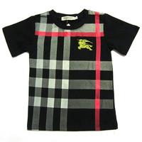 Retail  Brand  2014   New  summer  fashion  children's   shirt  striped  pliad  turn-down  collar   short  sleeve  boy's short