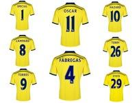 A+++ New 2015 Chelsie Away FAN Version Fabregas Lampard Torres OSCAR HAZARD Top Thailand Chelsi 14 15 Men Soccer Jersey