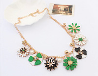 Free shipping Wholesale women trendy jewelery,vintage flowers necklace,daisy necklace,new and hot in 2014,30 pcs/lot