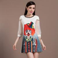 MIUCO2014 euramerican big-name summer wear the new dress the clown A word skirt printed lantern sleeve dress