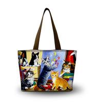 Cats Hot Canvas Tote Shopping Bag Beach Shoulder Bag Folderble Colorful Handbag
