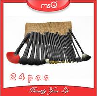 MSQ 5SETS/LOT  Brown Leather Case, Free ShippingProfessional 24pcs Kolinsky Sable Hair Makeup Brush Set  Cosmetic Sets Tools