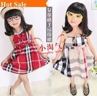 2014 summer child fashion brand plaid lace suspenders girl princess dress children clothes