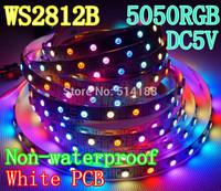 DC5V 4M 240 leds 60 pixel/m white PCB WS2812B WS2811 IC WS2812 Digital 5050 RGB LED Strip+free shipping