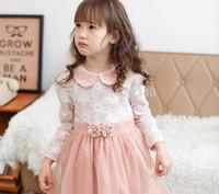 Retail 2014 autumn new Lolita Style floral pearls baby girls dress kids dress vestidos de menina roupa infantil pink