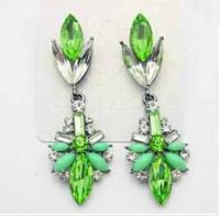 2014 New earring fashion women crystal drop earrings colorful gem dangle earring Gold Plated women jewelry vintage earrings