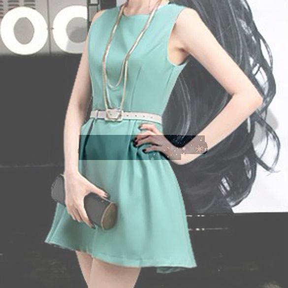 Free shipping 2014 Summer Sexy Women Sleeveless Pleated Vest Formal Mini Dress Skirt L ASAF(China (Mainland))