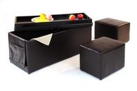 3 PCS Brown Ottoman Set Footsools Seat Storage Bench Pouffe Box Home Furniture Glossy Rectangle Storage Ottoman Set