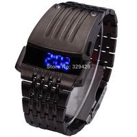 Mens Cyber Style Stainless Steel Digital Blue LED Sport Quartz Wrist Watch H5024 P