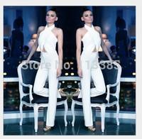 Free shipping halter neck street fashion white sexy sleeveless elastic waist long pants jumpsuit women's evening party bodysuits
