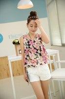 new 2014 women's summer chiffon  sexy  ruffles floral  Blouses & Shirts