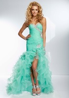 Stunning Beaded Ruffled Prom Dresses with Slit Orgnza Mermaid Mint Green Sweetheart Neckline FY063