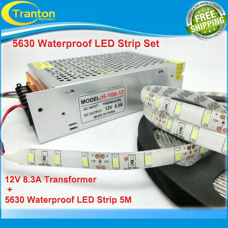waterproof LED Strip 5630 60led/m fleixble lighting set+ 8.3A 12V 100W iron high quality power LED transformer(China (Mainland))