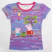 2014 new fashion nova kids girls tunic top pig embroidery summer short sleeve T-shirt for baby girls K4399