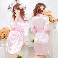 [SNY-S137] Long-sleeved Kimono Robe Bathrobe Imitation Silk Nightgown, Erotic Lingerie Suit + Free Shipping