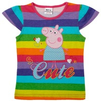 Tunic top pig embroidery summer short sleeve T-shirt for baby girls K4403