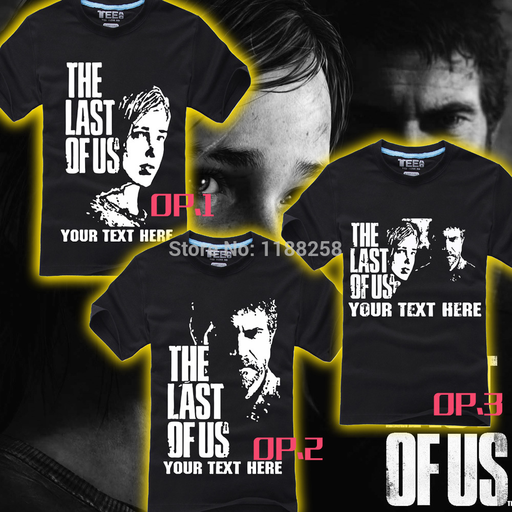 PS4 popular game the last of us T shirt 100% cotton Unisex short sleeves black color round collar 3 different designs(China (Mainland))