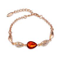 2014 Brand New Hot Gold Bracelets & Bangles For Women Fashion Shiny Big Rhinestone Charms Leaf Austrian Crystal Bracelet Jewelry
