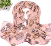 Trendy Stylish skull Scarves Chiffon Spring Autumn Shawl Scarf Fashion Accessory for women