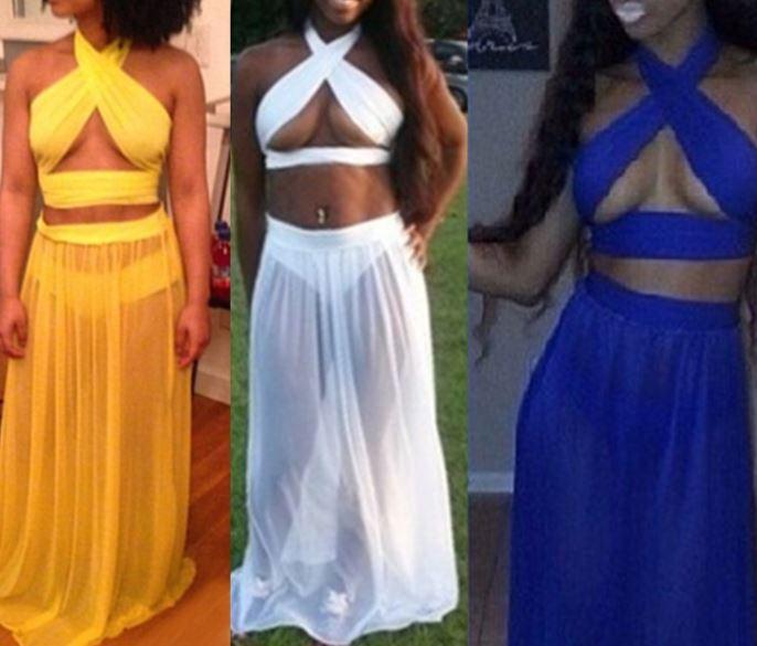 les femmes sexy bandage robes maxi longue célébrité blanc bleu jaune en mousseline de soie robe bodycon partie deux pièces sexy robes de soirée club