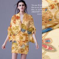 Romantic Butterfly Print 100%Silk Chiffon Fabric  135CM*100CM  6Mommie