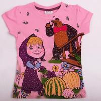 children t shirt Nova kids clothing printed beautiful girl Dora and bear summer short sleeve cotton T-shirt for girl KF2949