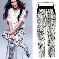 2014 Famous Brand Women Pencil  Ink Paint Slim Print Cotton Elastic Mild-Waist Fashion Trouser Spring Summer Fall Wear CL1830