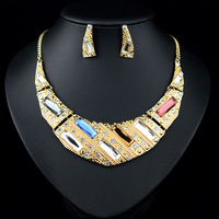 Exaggerated Noble Gold Plated Shiny Rhinestone Choker Necklace & Earrings For Women 2014