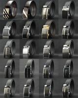2014 new fashion brand men cowhide genuine leather belt automatic buckle metal plate designer cowhide black color belts men