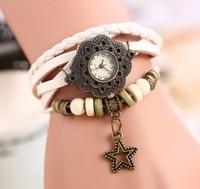2014 new fashion Women Genuine Leather Vintage Quartz Dress Watch Bracelet punk Wristwatches star Women Dress Watches