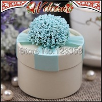 4 Colors European Style Cylindrical Wedding box Candy Box Flower Wedding Favors Holder Wedding decoration Gift box 7*5cm