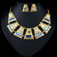 2014 New Fashion Jewelry Sets Bling Gold Plated Teal Multicor Geometry Pendants Necklaces & Earrings
