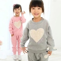 spring autumn Children's clothing wholesale Love girl modelling suits children casual sport suits 5sets/lot