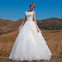 The new word shoulder lace three-dimensional flower sweet elegant wedding chapel LF444