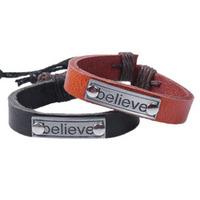 "1pcs/lot, ""Believe"" Letter Leather Mens Bracelet & Bangles Jewelry Horse Bracelet, Pulseira Masculina Couro"