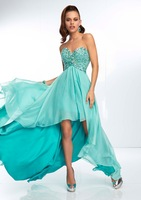 Turquoise Chiffon High Low Dresses for Prom Party Beaded Sweetheart Sexy Open Back FY070