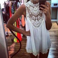 2014 new women fashion dress sleeveless lace Mini Dress, Women Sexy Hollow Out Short Dress Free shipping