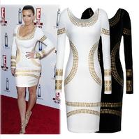 2014 New Top Fashion Women O-Neck Long Sleeve Bronzing Printed Elegant Bodycon Dress Ladies Stretchy Pencil Party dresses XS-XXL