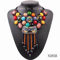 August new design 2014 tibetan style big resin round shape with bead tassel pendant collar necklace