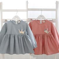 2014 Autumn new Korean children's clothing baby child children crown grid long-sleeved dress son