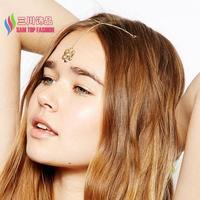 2014 new jewelry fashion elegant rhinestone charm double clips flower tikka hair accessories for women  wedding bijoux wholesale
