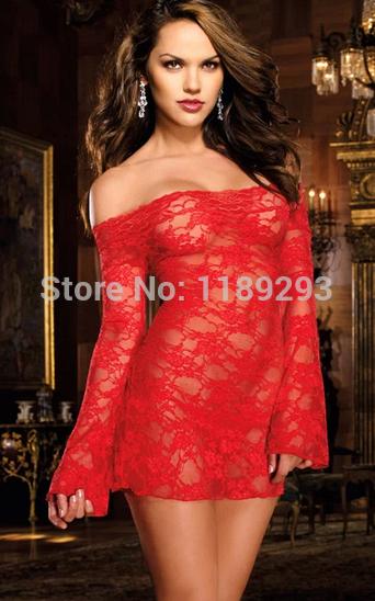 Fashion Black Red Satin Black Sexy Lingerie Costume Pajamas Underwear Sleepwear Nightwear Robe and G-String Free Shopping(China (Mainland))