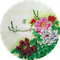 Elegant chinese classical unique handmade butterfly peony picture Dia 84cm oiled paper umbrella rain parasol proumbrella