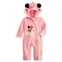 free shipping 2014 new style1 Pcs retail Minnie mouse  hooded Romper fashion pink jumpsuit for girls lace design baby wear