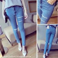 2014 summer women's summer female hole jeans high waist skinny pants long trousers