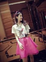 Lady's Fashion 2014 Summer Korean Short Regular Sleeve O-Neck Print Shirts Free Shipping A501-2-2273#