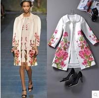 Fashion high quality Luxury 2014 fashion ladies autumn fashion elegant print women coat outerwear trench